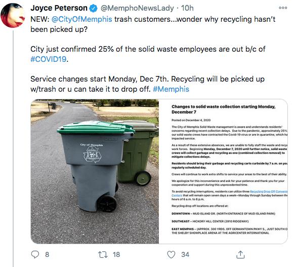 25% de empleados de la ciudad de Memphis que recogen los desechos solidos tienen COVID-19 o están en cuarentena   Local by Facundo Valdez
