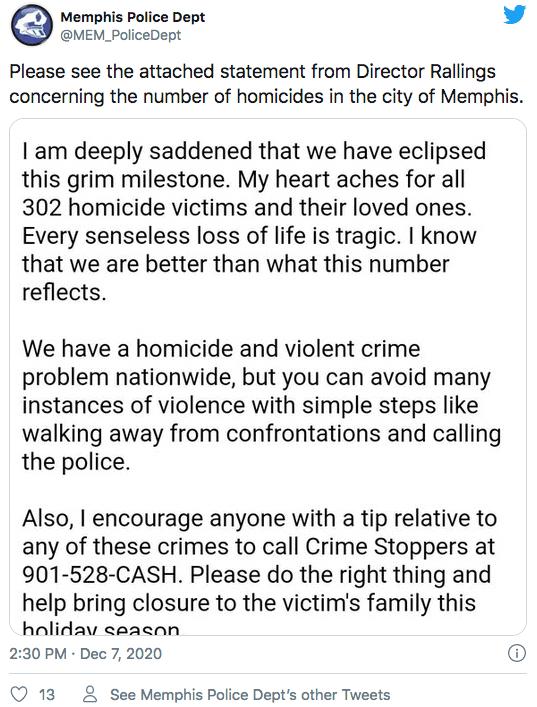 Memphis en crisis por la cantidad de homicidios en lo que va del 2020 | Local by Facundo Valdez