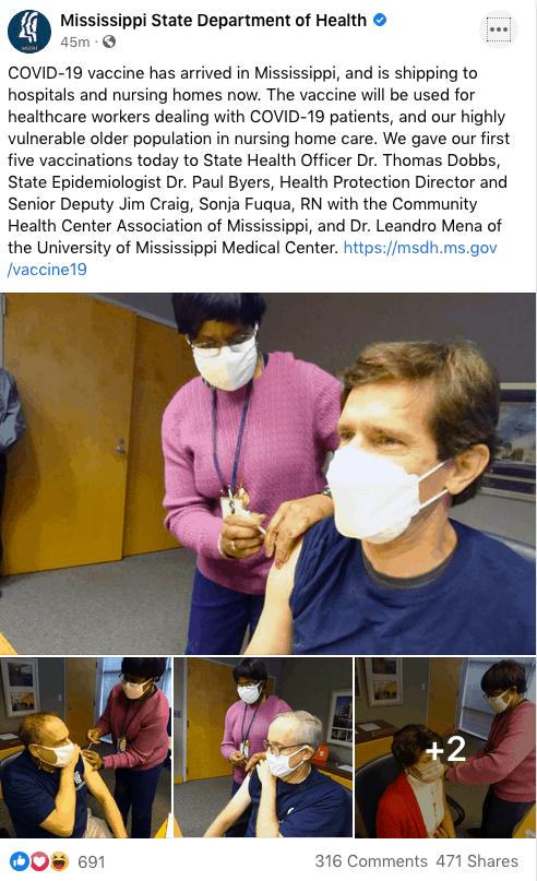 Mississippi recibió y administró este lunes la vacuna contra COVID19 | Local by Facundo Valdez