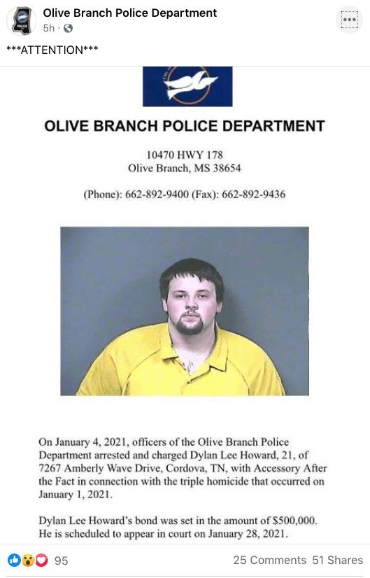 Hombre arrestado en relación con el triple homicidio en Olive Branch | Local by Facundo Valdez