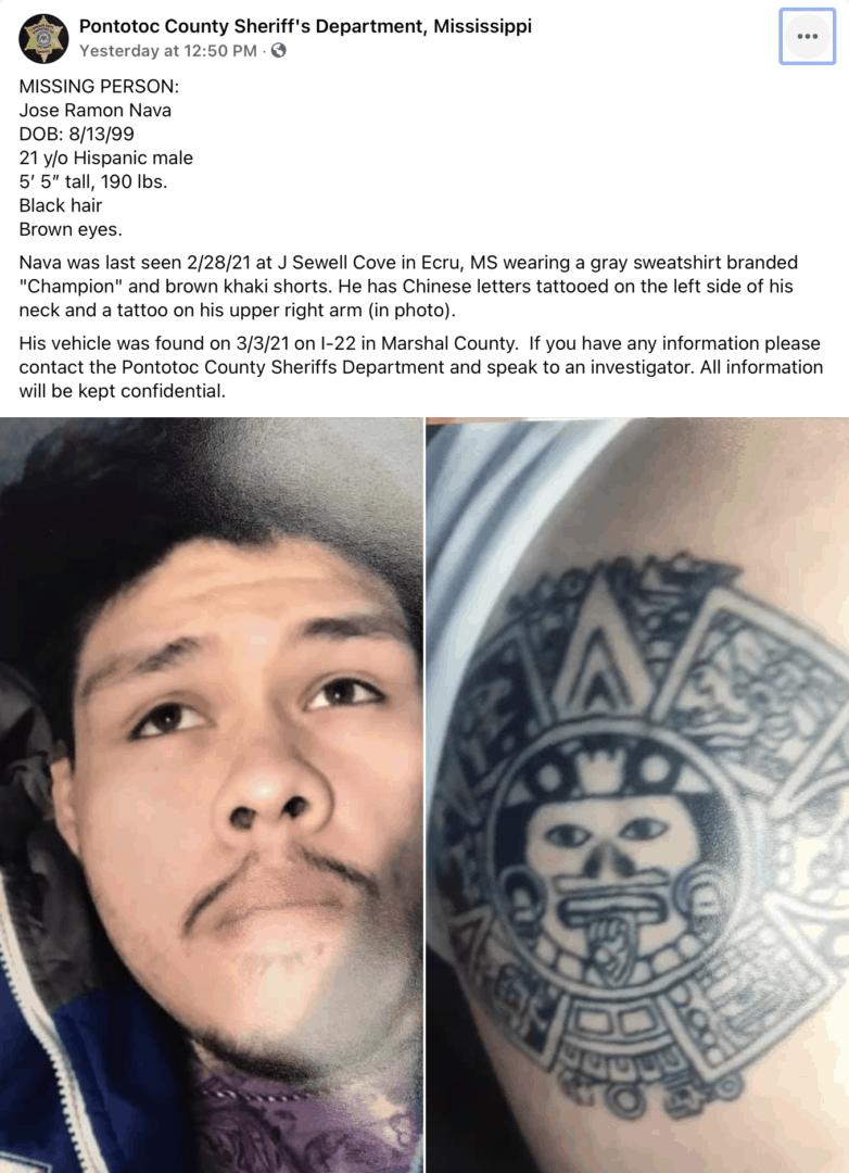 Hombre Hispano desaparecido en Pontotoc, Mississippi   Comunidad by Memphis Noticias