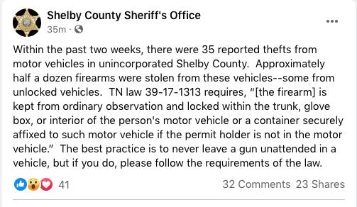 Armas robadas de vehículos alertan a la Oficina del Sheriff del condado de Shelby | Local by Memphis Noticias