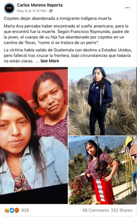 Coyotes dejan abandonado el cuerpo de inmigrante indígena   Noticia by Memphis Noticias