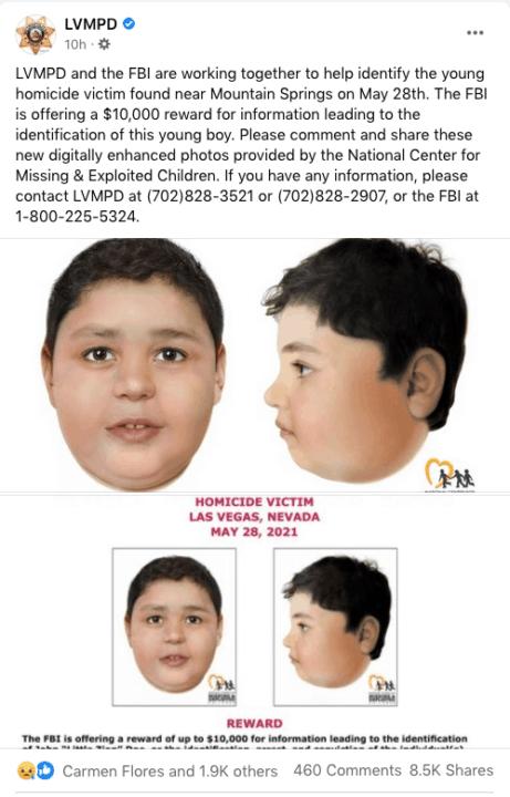 Ofrecen $ 10,000 de recompensa para identificar a niño hispano que fue encontrado sin vida en Las Vegas | Noticia by Memphis Noticias