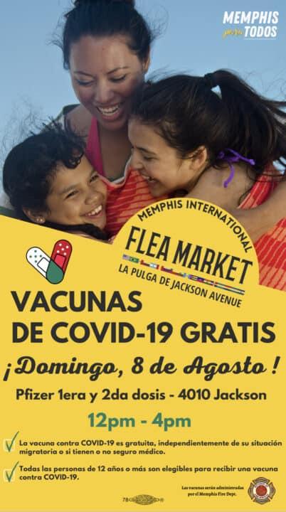 Banner digital de para evento de vacunación en La Pulga Internacional de Memphis el 8 de agosto, 2021 , Memphis For All