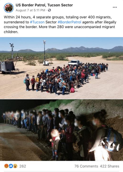 Cerca de 300 menores migrantes no acompañados se entregaron a la Patrulla Fronteriza en Arizona   Noticia by Memphis Noticias